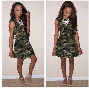 Camo dress with cut out sides small